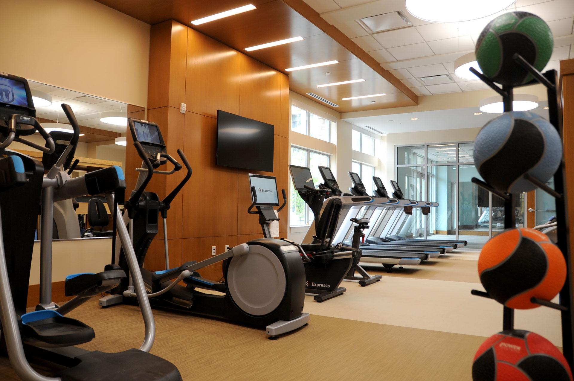 Exercise room full of equipment